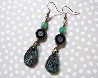 Aqua and Black Boho Drop Earrings (3873)