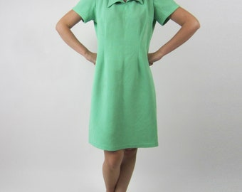 vtg 60s 70s Lime Green Jacquard Mod Scooter dress S M