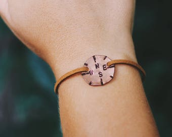 Compass Jewelry, Travel Jewelry, Coordinate Bracelet, Adventure Bracelet, Mountain Bracelet, Surfer Jewelry, Penny Bracelet, Gift for Her