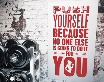 Fitness Gym Wall Decal Push Yourself - Vinyl Wall Words Custom Home Decor