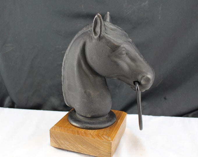 Vintage Cast Iron Horse Head Ring in Mouth-Metal Figurine Western Decor