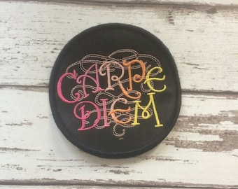 "Carpe Diem Latin ""Seize the Day"" patch live for the moment, JFDI biker embroidered badge"