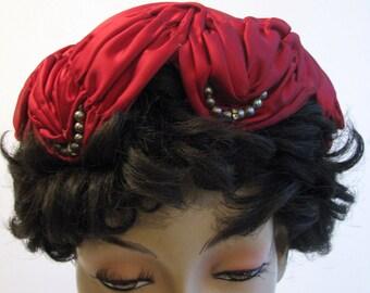 1950s Hat Red Satin Ruched Rhinestones