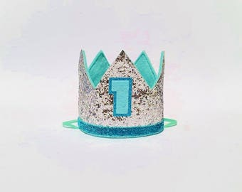 Mint Aqua and Silver Glitter First 1st Birthday Party Crown for Cake Smash Photo Prop Pictures with Number 1