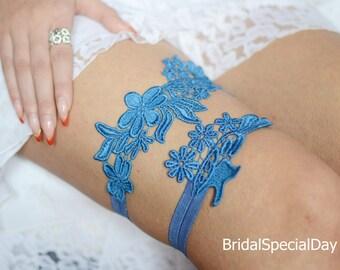 Bridal Garter, Wedding Garter Blue, Wedding Garter Set, Something Blue, Handmade Garter, Blue Garter, Lace Bridal Garter, Blue Garter Set