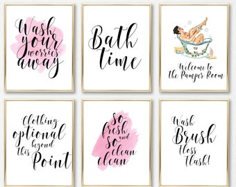 bathroom wall art, bathroom prints, bathroom wall decor, wall art, bathroom art, bathroom decor, funny bathroom art, girls bathroom, prints