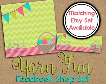 Yarn Facebook Timeline Cover - Facebook Shop Set - Yarn Profile Image - Facebook Banner - Knitting Shop Set - Crochet Facebook Graphics