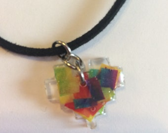 8-bit Rainbow Heart Necklace