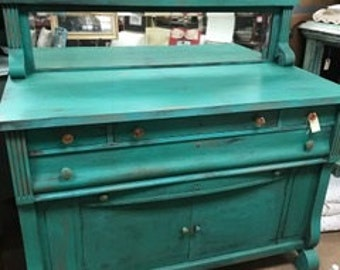 Sideboard with Mirror in Deep Dark Jade