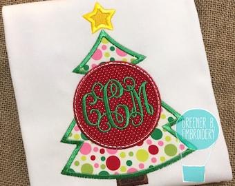 Christmas Tree Shirt / Christmas Tree Applique / Christmas Monogram / Girl Monogram Shirt / Christmas Shirt with Monogram / Girl's Christmas