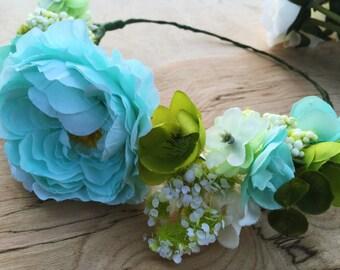 Beach Wedding Silk Flower Crown, Island Wedding, Flower Girl Crown, Boho Floral Crown, Tropical Floral Crown,