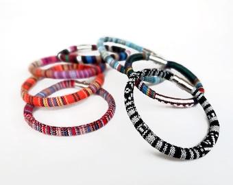 Woven Bracelet, Colorful Boho Bracelets, Cotton Bangle Bracelet, Fabric Friendship Bracelet