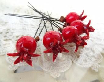 Red Pomegranate Wedding Hair Pins,  Bridal Hair Pins, Hair Accessories, Fabric Hair Pins, Bridesmaid Hair, Woodland - Set of 5