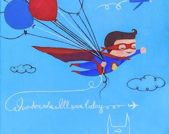 I Wonder who I'll save Today. Giclee PRINT 8x10 of original acrylic painting. Superman. Kids/Nursery Decor