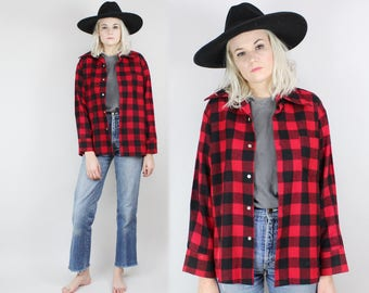 70s Red and Black Buffalo Plaid Button Up Shirt, Flannel, Size Large, 80s, Vintage, Jacket, Sweater, Button Down, Long Sleeved, Unisex