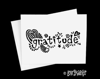 Gratitude Card Single Notecard Blank Inside