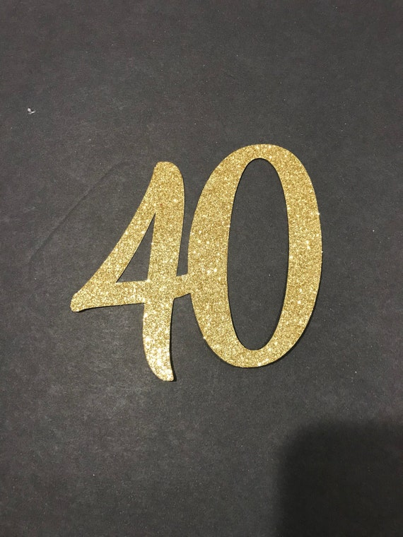 40th Birthday Cutouts Gold Black Or Silver Glitter 40th