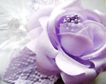 Hopelessly Devoted - Lavender Rose and Feather Hair Clip \/ Barrette \/ Mini-fascinator