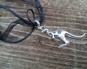 Kangaroo Charm Large Hole Bead Necklace on Black Ribbon Adjustable 16 inch Cord - Gifts for Girls - Valentine's Gift