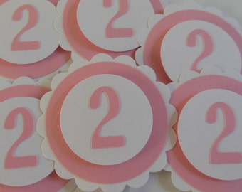 2nd Birthday Cupcake Toppers - Pink and White - Girl Birthday Party Decorations - Set of 6