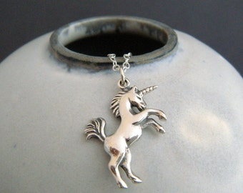 sterling silver unicorn necklace. whimsical pendant small realistic girly charm fairytale fairy tale fun jewelry unique gift tween her 1""