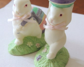 Two Porcelain Easter Bunny Figurines