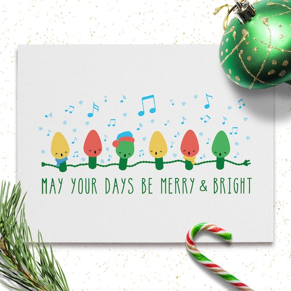 Printable christmas cards singing lights may your days be merry bright christmas card printables instant download holiday cards a2 size