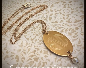 Engraved Oval Necklace - bronze 1 sided disc and chain - custom 3 letter engraved monogram - choice of Swarovski crystal - circle monogram