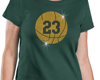 Rhinestone T-Shirt With Basketball Personalized With Players Number on a Premium  LAT Brand Ringspun Cotton Short Sleeve Tee