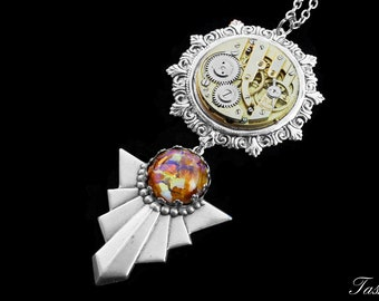Art Deco Steampunk Necklace, Victorian Antique Pendant, Harlequin Opal Pocket Watch Jewelry