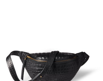 Fanny pack 'Niki' small black vegetable tanned leather with croco print and golden zippers