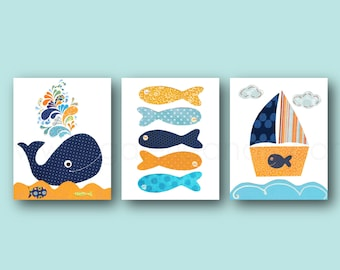 Nautical nursery decor wall art whale nursery bathroom art Boat fish orange navy Blue nursery ocean sea bathroom decor - Set of 3 prints