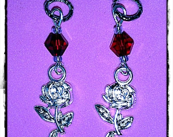 Hearing Aid Charms: Shiny Silver Plated Rose Stems with Glass Accent Beads!