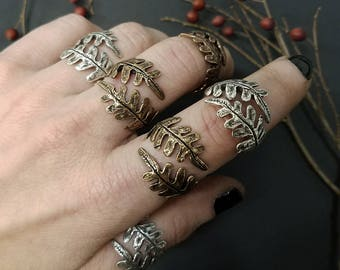 Double Fern Ring - Silver or Bronze - Plant Jewelry - made by Jamie Spinello