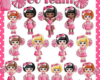 Team Pink Cheerleader - Digital Images for Scrapbook & Paper Crafts