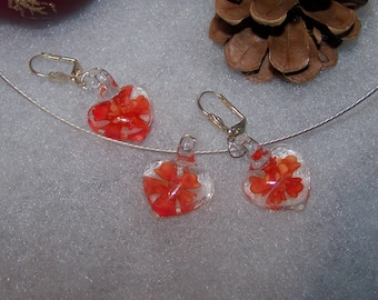 clear & red murano style heart
