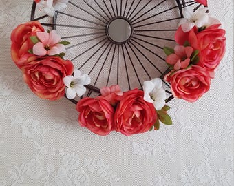 Coral and white floral embelleshed wall mirror