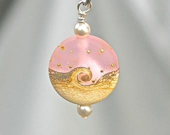 Ocean Wave Necklace, Ocean Wave Pink Lampwork Pendant Necklace, Beach Pendant, Handmade Lampwork Bead, Swarovski Pearls,  222 b