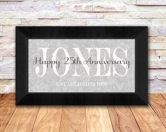 25th Wedding Anniversary Gifts, Family Name Print with Established Date, Silver Anniversary Gift, Anniversary Gift Print, 10 x 20 Inch Print