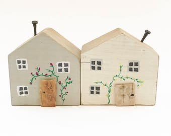 Grey and White Cottage Ornament, Miniature Houses, Little Houses, Wooden Sculpture, Miniature Wooden Houses, Mini Houses Handmade, Cottages