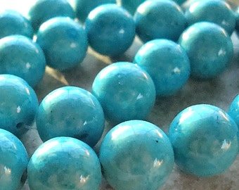 Fossil Beads 12mm Natural Aqua Blue Smooth Round Stones - 12 Pieces