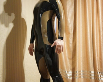 Two tone latex catsuit