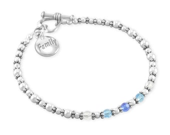 Birthstone Mothers Bracelet, Nana Bracelet, Beaded. Sterling Silver.Personalized, Birthstones Mothers Day Gift For Mom Nana, Grandma. NANCY