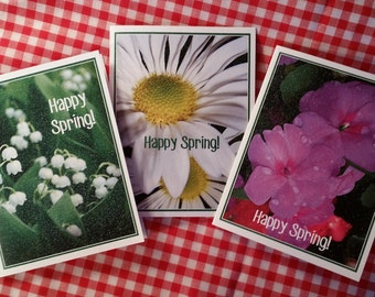 Note Cards ~ Happy Spring! Shimmery Flower Note Cards with Envelopes: Lily of the Valley, Daisies, and Impatiens - Personalize it!
