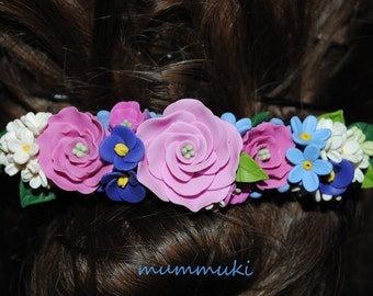 Polymer clay flower hair barrette