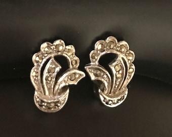 Vintage Clip On Earrings, Marcasite Earrings, Arrow Hallmark, Clip-Ons, Silver Earrings, Vintage Earrings, Art Deco Jewelry,