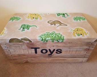 Large Toy Box With Upholstered Seat Lid - Choice of Fabric - Personalised - Handmade Recycled Wood - Kids - Children Christmas Birthday Gift