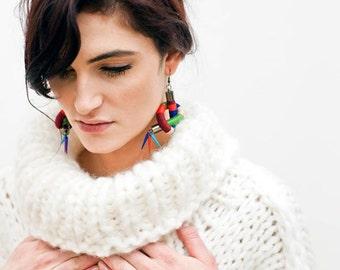 Statement Thread Wrapped Earrings, Rope Earrings, Tribal Earrings, Color Block Earrings, Nautical Spike Earrings