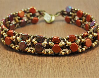 Red Honey Comb Bracelet