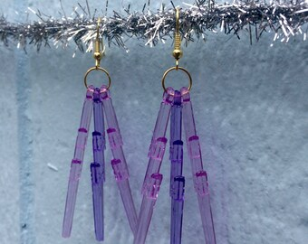 Power Purple Lightning Bolt Earrings w/ golden hooks